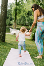 Load image into Gallery viewer, mom and me leggings teal striped set on mom and toddler by Canadian artist Rachael Grad back view