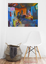 Load image into Gallery viewer, New York Studio Interior Art Print in white room with white chair by artist rachael grad