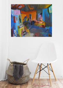 New York Studio Interior Art Print in white room with white chair by artist rachael grad