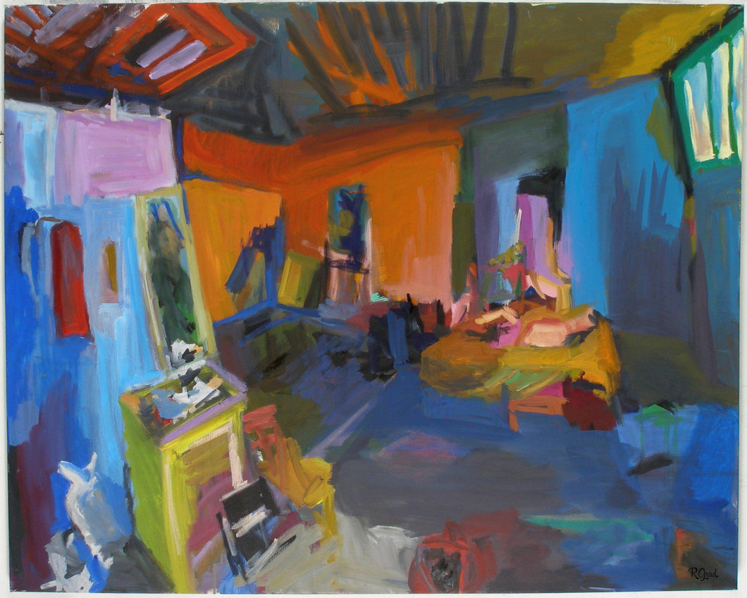 New York Studio, Oil on Linen Painting, 4' x 5', 2008 Rachael Grad Art