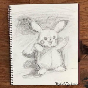 Pikachu Pencil on Paper Drawing-Original Art-Canadian Artist Rachael Grad