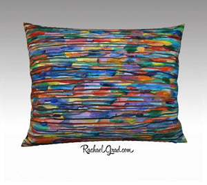 "Multicolored Pillowcase Bright Colour Art Lines 26"" x 20"" Pillow Case by Artist Rachael Grad"