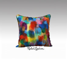 "Load image into Gallery viewer, Colorful Art Pillow Bright Colors 18"" x 18"" Pillow Case by Toronto Artist Rachael Grad"
