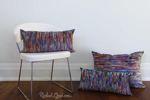 Lines Pillow Cases | Abstract Art Colorful Long Pillowcases by Toronto Artist Rachael Grad