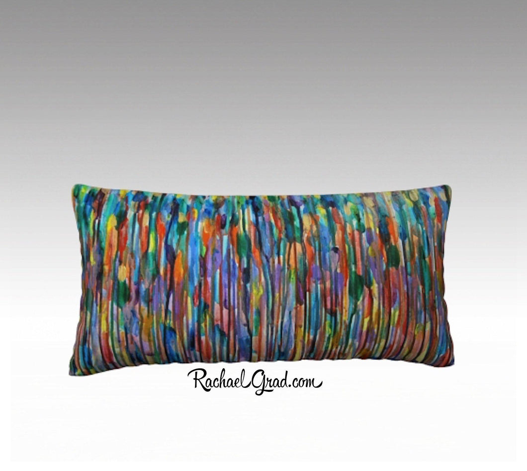 Lines Pillow Case | Abstract Art Colorful Long Pillowcase by Toronto Artist Rachael Grad MultiColor Bright24