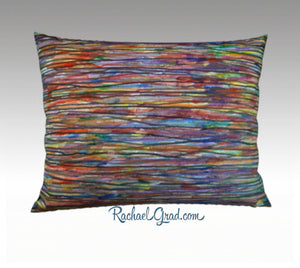 "Colorful Pillow Abstract Art Print Pillowcase 18"" x 18"" Square Pillow Sham Blue, Purple, Orange, Yellow, Green, Multicolor Brushstrokes Rachael Grad Art"
