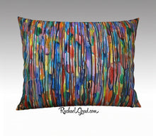 "Load image into Gallery viewer, Abstract Art Pillowcase Bright Colours Lines 26"" x 20"" pillow sham by Toronto Artist Rachael Grad"