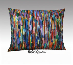 "Abstract Art Pillowcase Bright Colours Lines 26"" x 20"" pillow sham by Toronto Artist Rachael Grad"