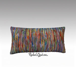 "Line Art Pillow, Abstract Art Long Pillowcase MultiColor by Toronto Artist Rachael Grad -24"" x 12"""