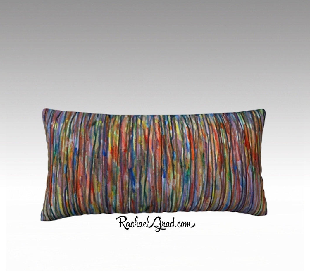 Line Art Pillow, Abstract Art Long Pillowcase MultiColor by Toronto Artist Rachael Grad -24