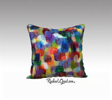 "Load image into Gallery viewer, Abstract Art Pillowcase by Toronto Artist Rachael Grad Dot Series Pillow Purples Yellows Blues 7-18"" x 18"" Pillow Case"