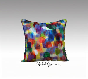"Abstract Art Pillowcase by Toronto Artist Rachael Grad Dot Series Pillow Purples Yellows Blues 7-18"" x 18"" Pillow Case"