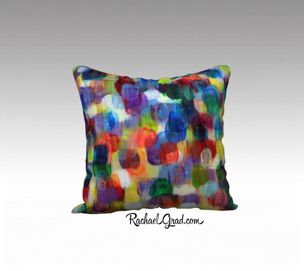 Abstract Art Pillowcase by Toronto Artist Rachael Grad Dot Series Pillow Purples Yellows Blues 7-18