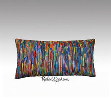 "Load image into Gallery viewer, Lines Art Pillow by Toronto Artist Rachael Grad, Long Pillowcase MultiColor Pillow Sham Bright Reds and Blues-24"" x 12"" Pillow Case-rachaelgrad-rachaelgrad artsy abstract colorful artwork multicolor"