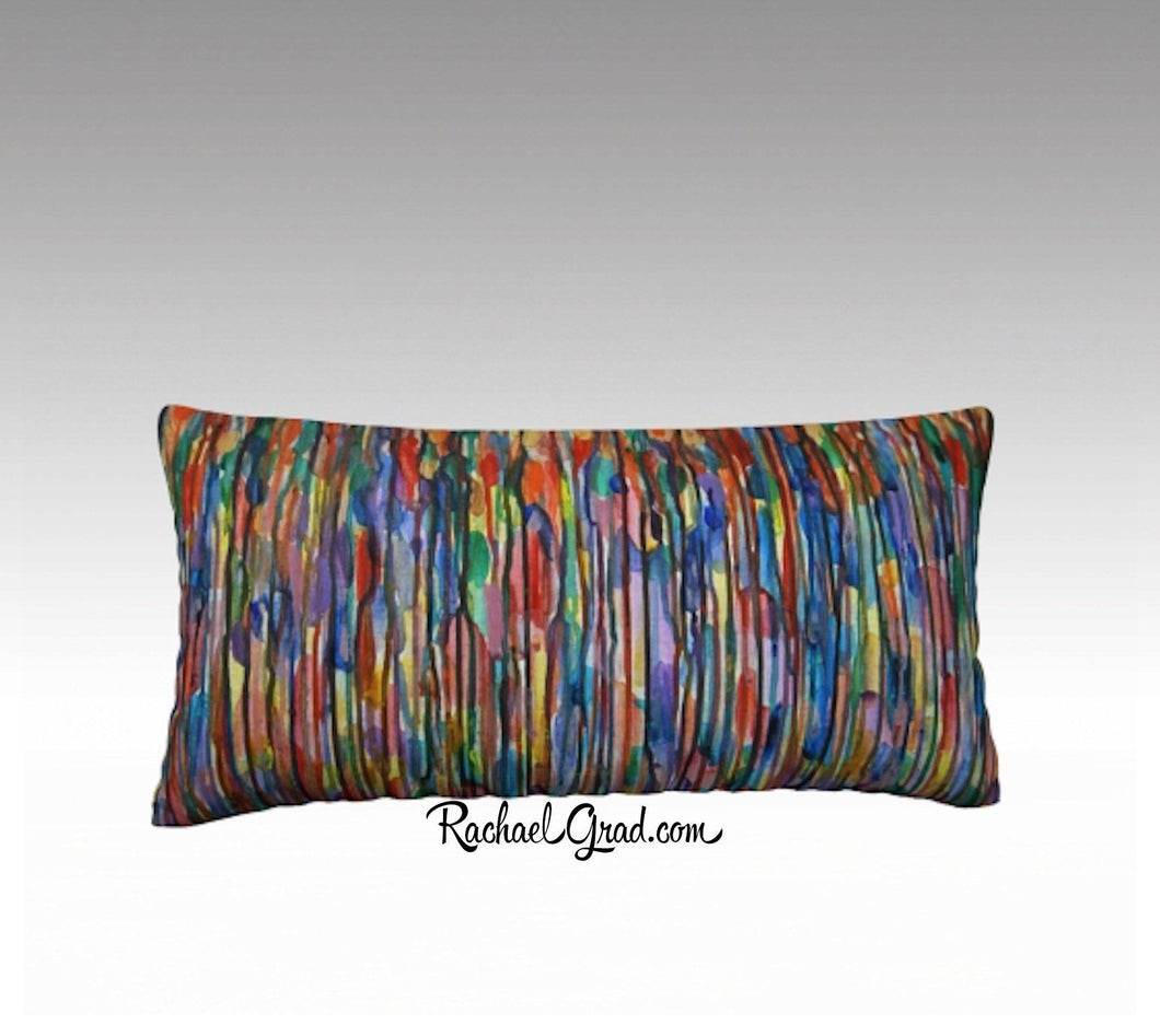 Lines Art Pillow by Toronto Artist Rachael Grad, Long Pillowcase MultiColor Pillow Sham Bright Reds and Blues-24