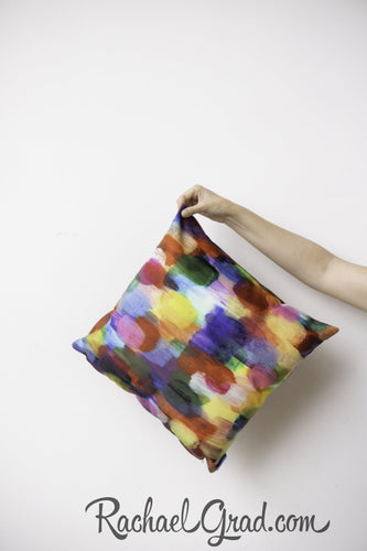 Red Color Art Pillow in Hand by Toronto Artist Rachael Grad