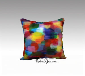 "Red Colorful Pillowcase, Abstract Art Pillow Bright Colors 8-18"" x 18"" Pillow Case-rachaelgrad-rachaelgrad artsy abstract colorful artwork multicolor"