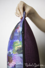 Load image into Gallery viewer, Zipper on Colorful Art Pillow by Artist Rachael Grad
