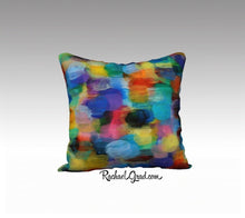 "Load image into Gallery viewer, Turquoise Yellow Pillow Bright Colors, Art Pillows 18"" x 18"" Pillow Case by Artist Rachael Grad"