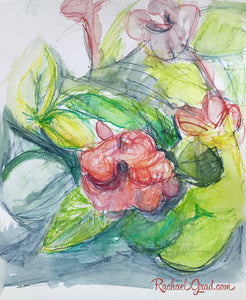 "Pink Flowers 1 Drawing 9"" x 11"" by Artist Rachael Grad Art July 2019"