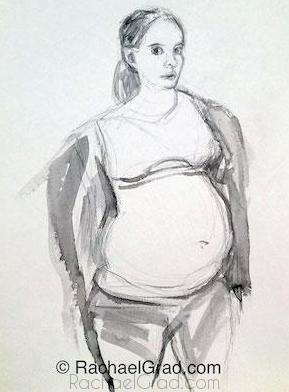 Pregnant Self-Portrait, Ink on Paper Painting, 2012 Rachael Grad Art Artist