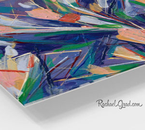 Abstract Flowers Wall Art Print corner view by Toronto Artist Rachael Grad.