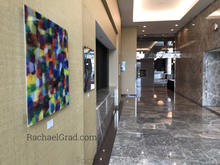 Load image into Gallery viewer, Yellow and Purple Multicolor High Gloss Abstract Art with in 4 Square Sizes markham ballroom rachael grad side view