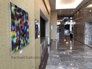 Yellow and Purple Multicolor High Gloss Abstract Art with in 4 Square Sizes markham ballroom rachael grad side view