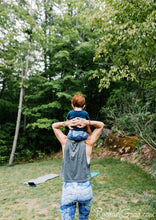 Load image into Gallery viewer, purple baby leggings on mom and baby by Canadian artist Rachael Grad back view