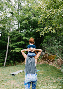 purple baby leggings on mom and baby by Canadian artist Rachael Grad back view