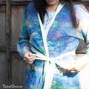 purple yellow art robe by Toronto Artist Rachael Grad tying