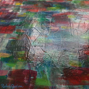 closeup of red blue abstract landscape texture detail by Artist Rachael Grad Art