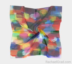 Dot Series 8 Square Scarf Multicolor-Square Scarf-rachaelgrad-rachaelgrad artsy abstract colorful artwork multicolor