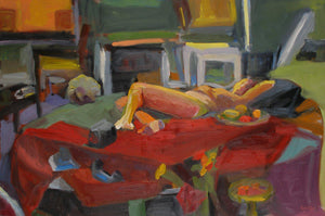 "Red Room with Reclining Female Figure, Oil on Canvas, 18"" x 24"" original painting by artist Rachael Grad"