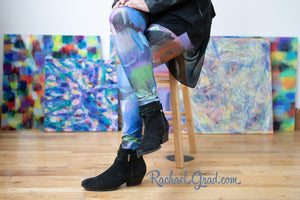 Sami Womens Leggings Colorful Abstract Paintings by Rachael Grad in background