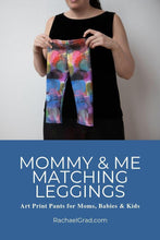 Load image into Gallery viewer, Mommy and Me Matching Leggings by Artist Rachael Grad mom holding the leggings