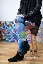 Load image into Gallery viewer, Multicolored Yoga Leggings by Artist Rachael Grad Blues Purples