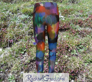 sami kids leggings with colorful abstract art by artist Rachael Grad grass background