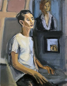 Seated Man & Paintings, Oil on Canvas, 2014 Rachael Grad Art Artist