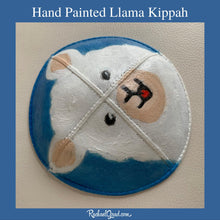 Load image into Gallery viewer, side view hand painted llama kippah by artist Rachael Grad Alpaca yarmulkas blue and white