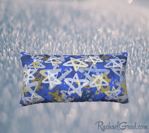 24 x 12 Pillowcase with Blue Stars Art by Toronto Artist Rachael Grad