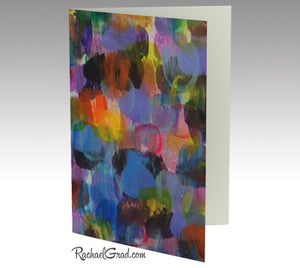 Greeting Card Set of 3 Abstract Art Note Cards by Artist Rachael Grad | Blue Purple Artwork Stationery Note Card, Colorful Eco-Friendly Recycled Paper Blank Inside
