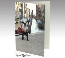 Load image into Gallery viewer,  Gondolier Resting, Venice, Italy, Photograph Personal Stationery Set of 3 Greeting Note Cards with Gondola, Venetian Canal Water and Bridge Rachael Grad Art