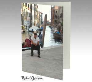 Gondolier Resting, Venice, Italy, Photograph Personal Stationery Set of 3 Greeting Note Cards with Gondola, Venetian Canal Water and Bridge Rachael Grad Art