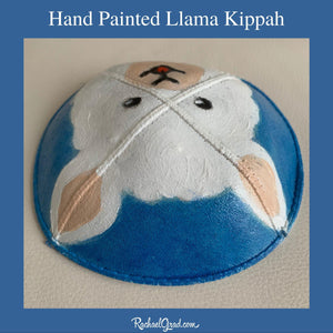 top view hand painted llama kippahs by artist Rachael Grad Alpaca yarmulkas blue and white