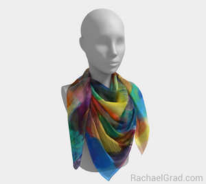 Dot Series 4 Square Scarf Yellow Turquoise-Square Scarf-rachaelgrad-rachaelgrad artsy abstract colorful artwork multicolor