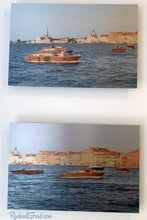 Load image into Gallery viewer, Basilica & Boats in Redentore Venice Italy Artwork Set by Artist Rachael Grad front view
