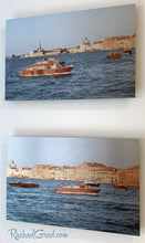 Load image into Gallery viewer, Basilica & Boats in Redentore Venice Italy Artwork Set by Artist Rachael Grad side view
