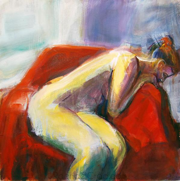 Woman Leaning on Red Chair, Oil on Linen Painting, 2010 Rachael Grad Art Artist