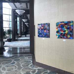 Dot Series Wall Art 2 Yellow and Blue Multicolor, Colorful Abstract Square Acrylic Art Print hanging in the Hilton Toronto/Markham Suites Conference Centre & Spa main floor